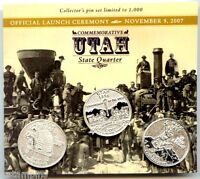 2007 UTAH STATE QUARTER LAUNCH CEREMONY LAPEL PIN SET/3