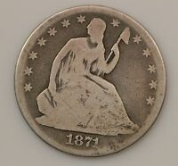 1871 P SEATED LIBERTY SILVER HALF DOLLAR G61