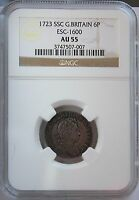 1723 SSC GREAT BRITAIN 6 PENCE AU55 NGC ESC 1600. ATTRACTIVE TONING.