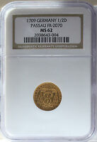 1709C GERMAN STATES 1/2 DUCAT GOLD PASSAU FR 2070 NGC MS62  THIS NICE