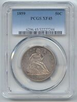 1859 SEATED LIBERTY HALF DOLLAR PCGS XF 45