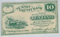 CUYAHOGA FALLS OHIO 1862 SUMMIT COUNTY BANK 10 CENTS OBSOLETE CURRENCY SCRIP