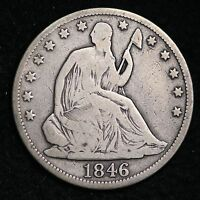 1846 TALL DATE SEATED LIBERTY HALF DOLLAR CHOICE FINE  E320 ULT