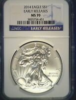 2014 US $1 SILVER EAGLE NGC MS 70 EARLY RELEASES
