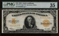 1922 $10 GOLD CERTIFICATE LARGE VIBRANT COLOR NOTE PMG 35 CH FINE FR1173