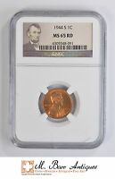 MS65 RD 1944 S CENT LINCOLN WHEAT   GRADED NGC 4714