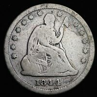 1844 SEATED LIBERTY QUARTER CHOICE VG  E215 UNC