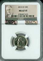2013 D ROOSEVELT DIME NGC MAC MS67 FT DMPL PQ 2ND FINEST REGISTRY SPOTLESS