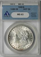 1885 VAM-1B PITTED REVERSE MORGAN SILVER DOLLAR $1 MINT STATE 63 ANACS  HOT-50