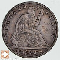 1855 O SEATED LIBERTY SILVER HALF DOLLAR 1258