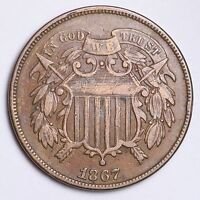 1867 TWO CENT PENNY CHOICE EXTRA FINE  SHIPS FREE E228 ACB