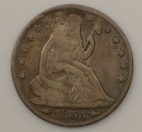 1855 O SEATED LIBERTY SILVER HALF DOLLAR G36