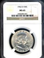 ORIGINAL GEM 1962 D FRANKLIN SILVER HALF DOLLAR NGC MS65  89007