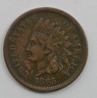 1865 INDIAN HEAD ONE CENT, CIVIL WAR DATE G89