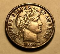 USA   BARBER DIME   1902   SHARP DETAIL   GREAT COLLECTOR COIN