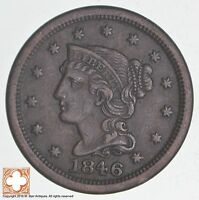 1846 BRAIDED HAIR LARGE CENT   SMALL DATE 3894