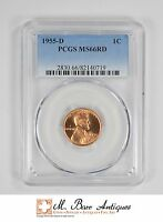 MS66RD 1955 D LINCOLN WHEAT CENT   GRADED PCGS 3343