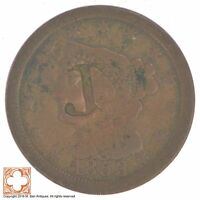 1853 BRAIDED HAIR HALF CENT CONDITION: COUNTER STAMPED XB43