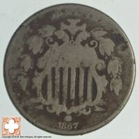 1867 SHIELD NICKEL   WITHOUT RAYS 8677