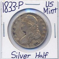 1833 P CAPPED BUST SILVER HALF DOLLAR US MINT SILVER COIN ESTATE 90