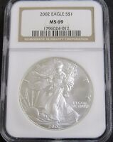 2002 AMERICAN SILVER EAGLE 1OZ. .999 FINE SILVER NGC MINT STATE 69