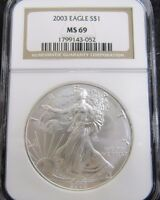 2003 AMERICAN SILVER EAGLE 1OZ. .999 FINE SILVER NGC MINT STATE 69
