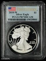 2010-W AMERICAN SILVER EAGLE PROOF COIN, PCGS PR70 DCAM, FIRST STRIKE