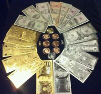 <HUGE SET>COLLECTIBLE COINS   $1 $100 GOLD/SILVER& PAPER REP. BANKNOTES   MOREY