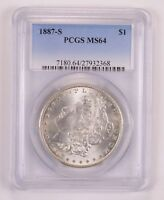 MINT STATE 64 1887-S MORGAN SILVER DOLLAR - PCGS GRADED 1809