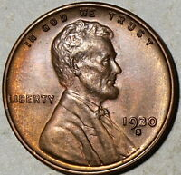 1930 S  US LINCOLN WHEAT CENT, GEM, RB
