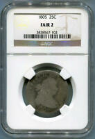 1805 DRAPED BUST QUARTER, NGC FAIR 2