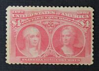 CKSTAMPS: US STAMPS COLLECTION SCOTT244 $4 COLUMBIAN UNUSED NG THIN CV$1000