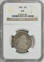 1807 DRAPED BUST QUARTER NGC GOOD 4