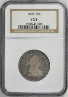 1805 DRAPED BUST QUARTER NGC VG 08