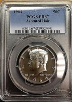 GEM PROOF1964 ACCENTED HAIR KENNEDY SILVER HALF DOLLAR PCGS PR67 2998