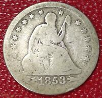 WOW 1853 ARROWS/RAYS SEATED LIBERTY SILVER QUARTER DOLLAR COIN  C4045
