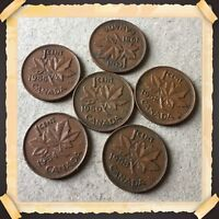 LOT OF 6 CANADIAN SMALL PENNIES 1950 1951 1952 1953 1954 1955  CIRCULATED 665