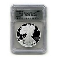 USA AMERICAN SILVER EAGLE $1 2006 W ICG PR 70 DCAM 20TH ANNIVERSARY PROOF