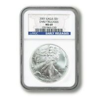 USA AMERICAN SILVER EAGLE EARLY RELEASE $1 2007  NGC MINT STATE 69 SLABBED