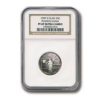 USA PENNSYLVANIA STATE QUARTER CLAD 25 CENTS 1999 NGC PROOF 69 ULTRA CAMEO GREAT
