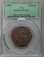 1787 NEW JERSEY COPPER OUTLINED SHIELD PCGS F/VF-15
