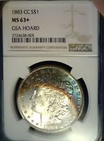 1883 CC MORGAN SILVER DOLLAR NGC MINT STATE 63 DEEP BLUE & GOLDEN RAINBOW TONING