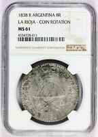 1838 R ARGENTINA LA RIOJA 8 REALES COIN ROTATION SILVER COIN   NGC MS 61   KM 8
