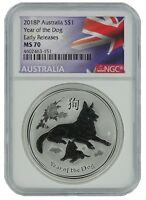 2018 AUSTRALIA 1OZ SILVER LUNAR DOG NGC MS70 EARLY RELEASES