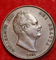 1831 GREAT BRITAIN ONE PENNY FOREIGN COIN FREE S/H