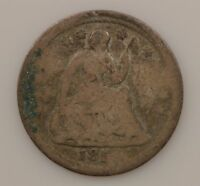 1850'S SEATED LIBERTY SILVER HALF DIME  G35
