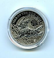 2018 GREAT BRITAIN 1 OZ SILVER 2PD YEAR OF THE DOG COIN IN A