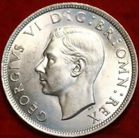 1943 GREAT BRITAIN 1/2 CROWN SILVER FOREIGN COIN FREE S/H
