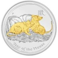 2008 GOLD GILDED AUSTRALIAN LUNAR YEAR OF THE MOUSE 1 OZ .999 SILVER PERTH   CAP