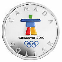 2010 CANADA SILVER DOLLAR INUKSHUK COLORIZED LUCKY LOONIE VANCOUVER OLYMPICS